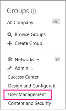 Yammer Admin menu with User Management higlighted
