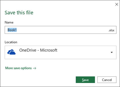 The save dialog in Microsoft Excel for Office 365