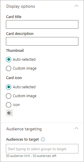Page card display options