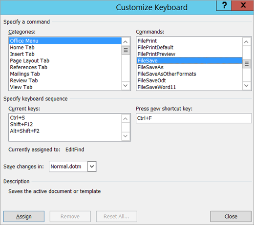 Creating a new keyboard shortcut in the Customize Keyboard dialog box