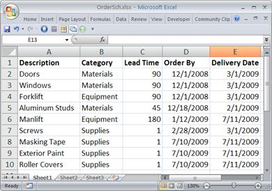The worksheet with the order data that will be imported as a list.