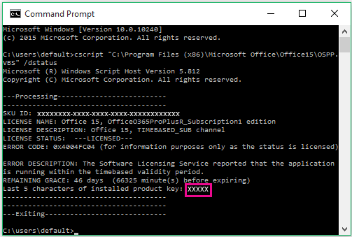 Command Prompt showing last five digits of product key