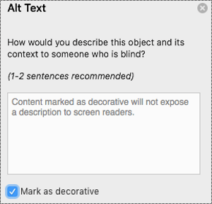 Mark as Decorative check box selected in the Alt text pane in Excel for Mac