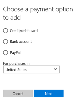 The Choose a payment option menu, showing the available options for the United States.