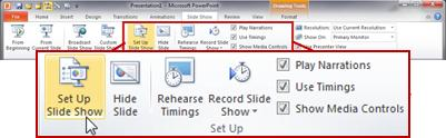 The Set Up group on the Slide Show tab in the PowerPoint 2010 ribbon
