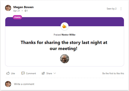 Work with praise messages in Yammer