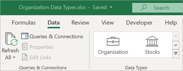 Excel Data tab showing Organization Data Types icon