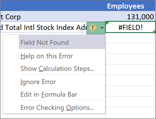 Ignore a #FIELD! error
