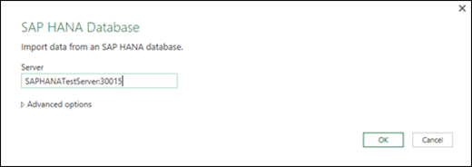 SAP HANA Database dialog box