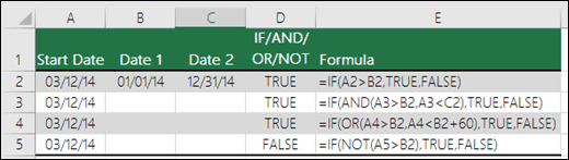Examples of using IF with AND, OR and NOT to evaluate dates