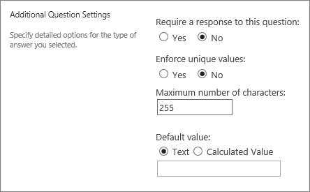 Additional questions section of new dialog box