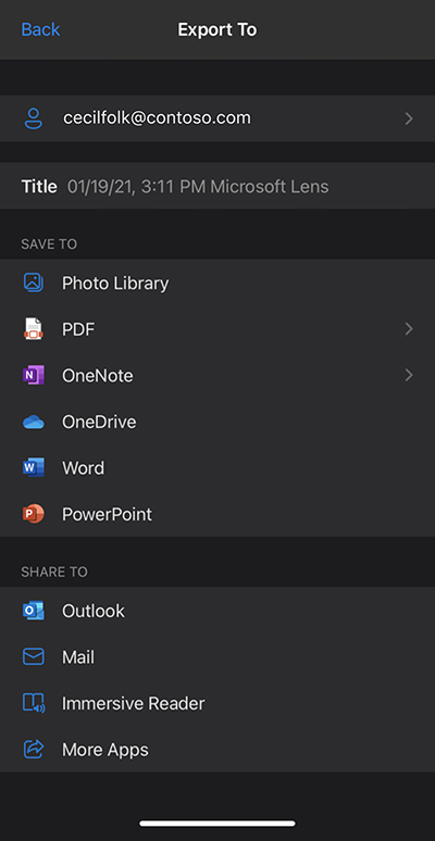 Screenshot from Microsoft Lens on an iPhone
