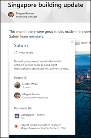 Image of a topic highlighted in SharePoint