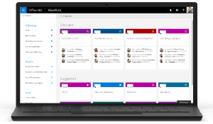 SharePoint Home screenshot on laptop
