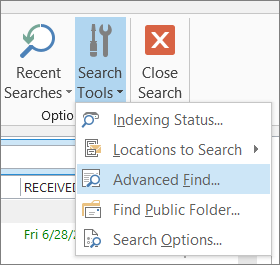 Advanced Find under Search Tools
