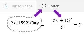 Shows typed equation, the math button, and the converted equation