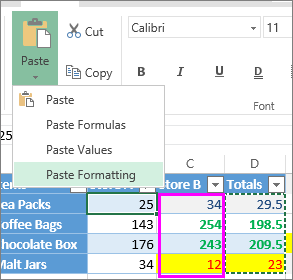 option to paste only cell formatting
