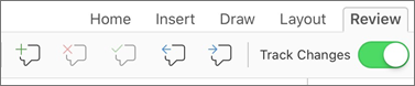 Review tab comments menu
