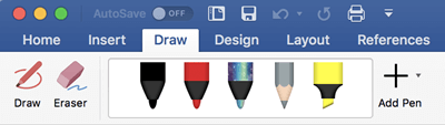 Pens and highlighters on the Draw tab in Office 365 for Mac