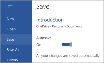 AutoSave switch on Android