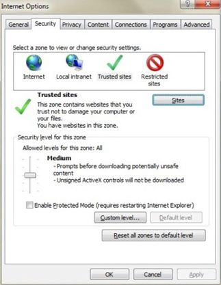 Screen shot of the Security tab in Internet Options