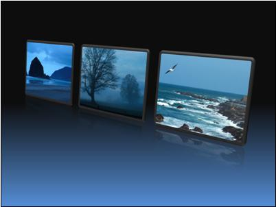Framed pictures in a row in perspective