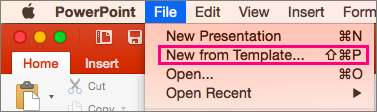 Shows the New from Template option in File in PowerPoint 2016 for Mac