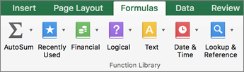 On the Formulas tab, click text.