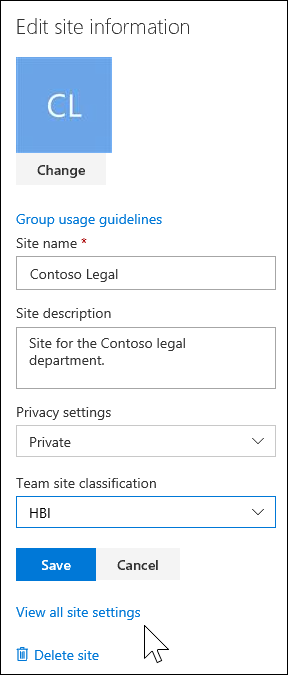 View all SharePoint site settings