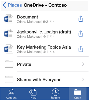 OneDrive files in Office Mobile