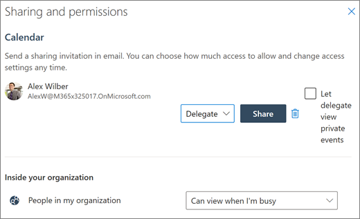 Delegating access to your calendar in Outlook on the web
