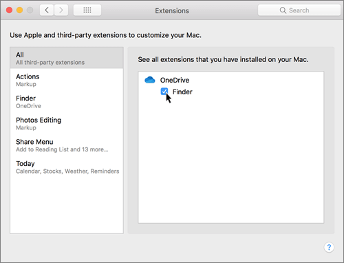 Screenshot of Extensions in system preferences on a Mac