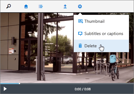Screenshot of a video page with the Delete command active.