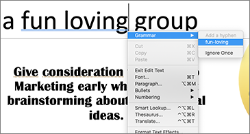 Underlined words in blue with contextual menu showing grammatical suggestion