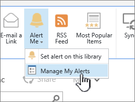 SharePoint 2016 Manage alert button highlighted