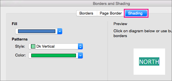 Click the Shading tab to fill selected text with colors and patterns.