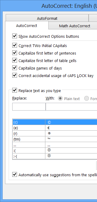 AutoCorrect dialog box