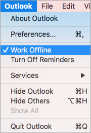 Shows the Work Offline option selected on the Outlook menu