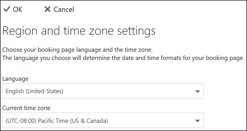 Screenshot: Select your language and current time zone