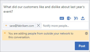 A notification that you are adding external participants