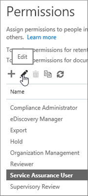 Shows Service Assurance User role selected, and then the edit icon selected.
