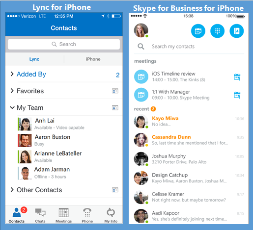 Side-by-side screen shots of Lync and Skype for Business