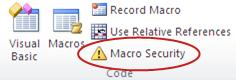 Macro Security command on the Developer tab