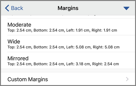 Showing Margin options