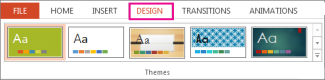 Themes gallery on the Design tab