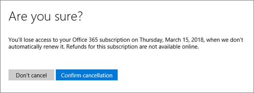 Screenshot of the Are you sure? page when you cancel an Office 365 for home subscription.