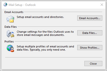 The mail dialog in Control panel