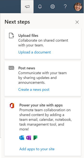 Image of the Next steps panel for teams that have not connected to an  O365 group