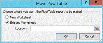 Move PivotTable dialog box
