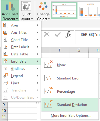 "The ""Add Chart Element"" and ""Error Bars"" menus."